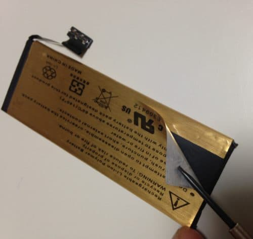 iPhone5互換バッテリーとゴールドシール