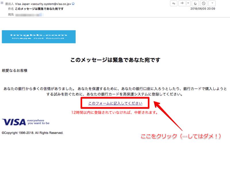 自称VISAからの詐欺メール
