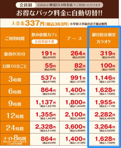 快活クラブ赤道店の料金表