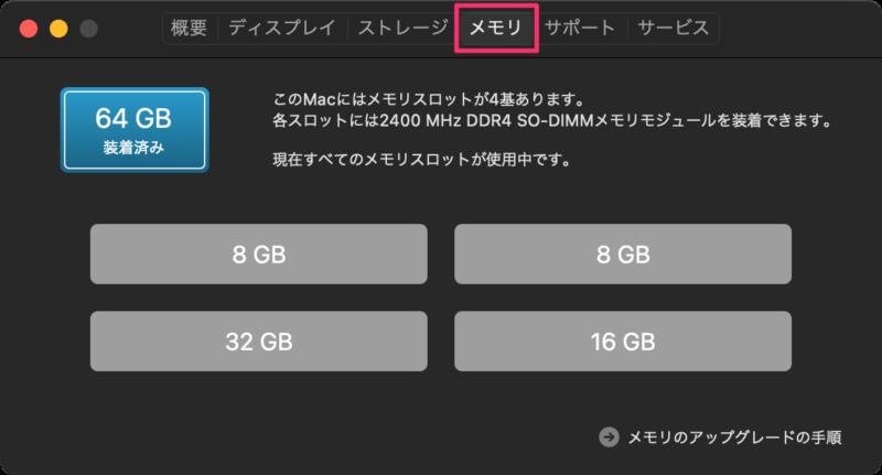 Macに搭載されているメモリ容量